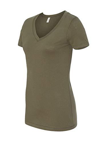 Next Level Women's Lightweight V-Neck Jersey T-Shirt, Small, Military Green