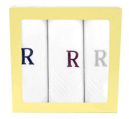 Moda Di Raza Men's Cotton Hanky Monogrammed Handkerchiefs Initial Letter - R