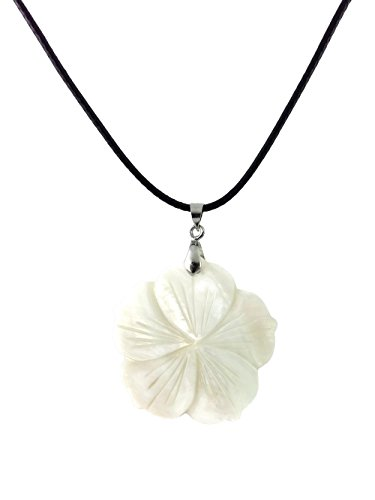 Dastan Necklace with Freshwater White Flower Natural Shell Pendant on Black Leather Cord Shell Pendant Leather Necklace