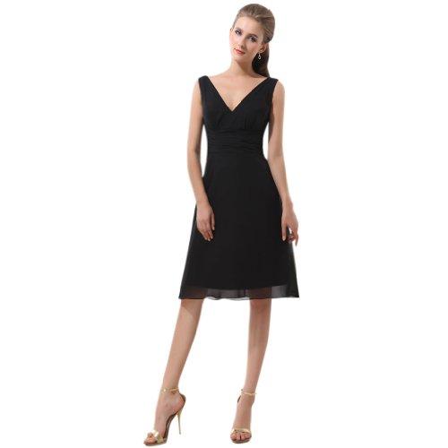 Kleidungen Damen Dearta V A Abendkleider Linie Chiffon Ausschnitt Schwarz Knielang qS65qdTnr