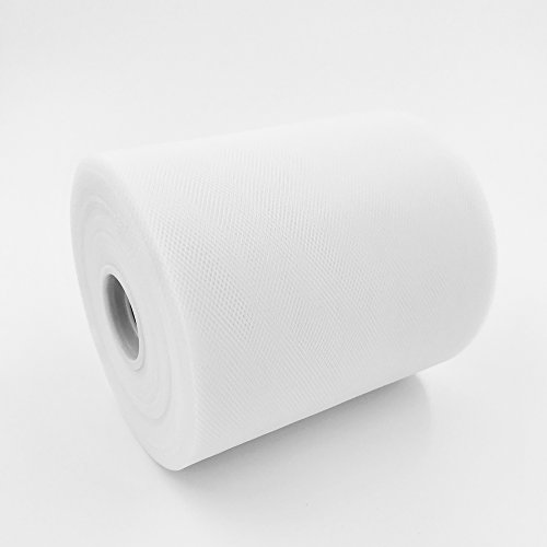 Craft and Party, 6'' by 200 Yards (600 ft) Fabric Tulle Spool for Wedding and Decoration. Value Pack. (White) by Craft And Party (Image #2)