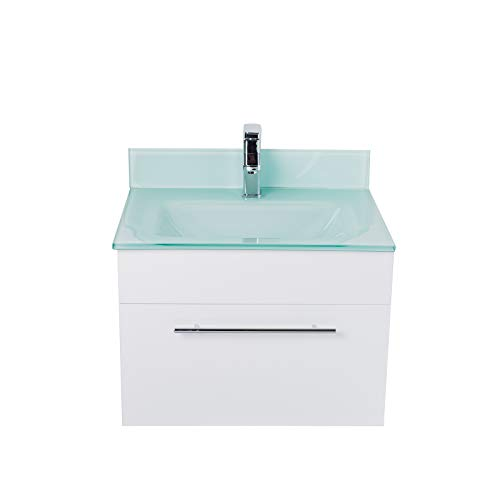 (LV-1040W Wall Mount Modern White Bathroom Vanity with Glass Sink, Backsplash, Soft Closing Drawer)