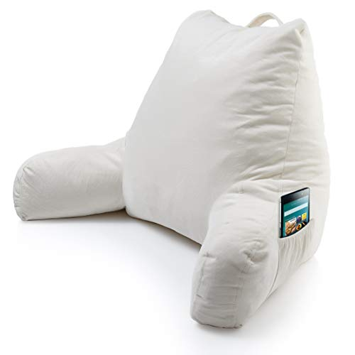 Foam Reading Pillow with Arm Pocket - Read & Watch TV in Comfort While in Bed, Relax without Back Pain