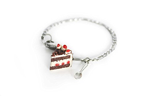 Black Forest Cake Bracelet Dessert Jewelry Adjustable Bracelets Silver Figaro Chain Chocolate Bright Red Cherry Miniature Food Spoon Charms With Lobster Claw Stainless Steel Holiday ()
