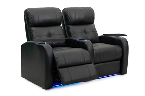 - Octane Sonic XS900 Power Recline Black Leather Home Theater Seating (Set of 2)