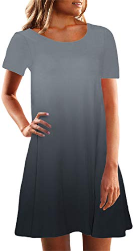 onlypuff Women's Summer Short Sleeve Tunic Top Gray Swing T-Shirt Casual Loose Dress XXL