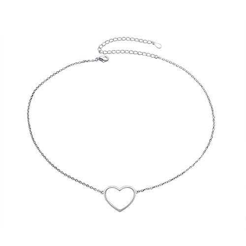 S925 Sterling Silver Choker Minimalist Heart Pendant Necklace for Women Sister Wife Girl Lady Neck Simple Jewelry Gife