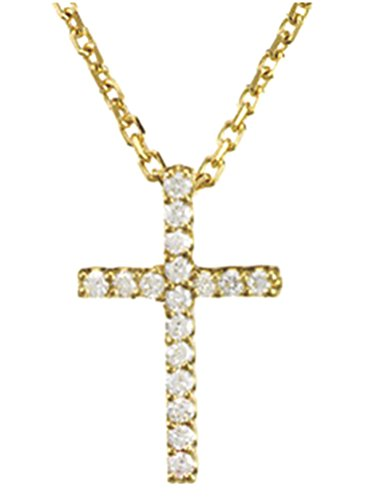 Petite Diamond Cross 14k Yellow Gold Necklace, 16'' (.085 Cttw.) by The Men's Jewelry Store (for HER)