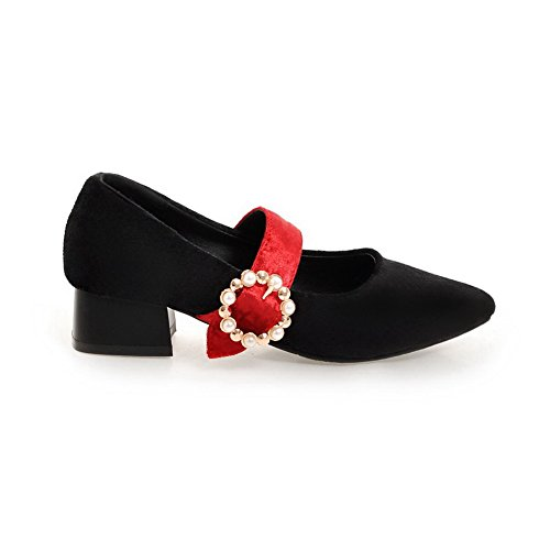 BalaMasa Ladies Pointed-Toe Beaded Square Heels Suede Flats Shoes Red 7w13GsLSJs