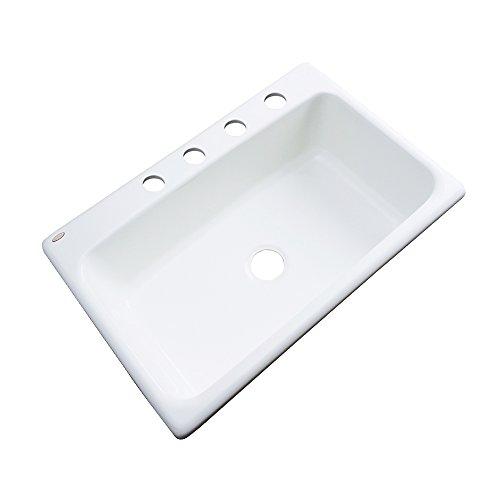 Dekor Sinks 58400 Brookwood Single Bowl Cast Acrylic Kitchen Sink-4 Hole, 33
