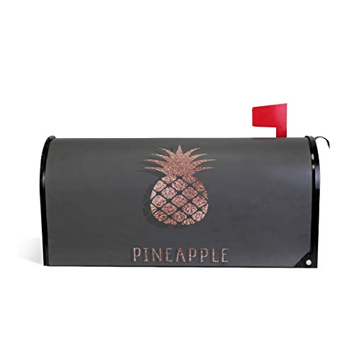 (WOOR Rose Gold Pineapple Pattern On Black Background Magnetic Mailbox Cover MailWraps Garden Yard Home Decor for Outside Standard Size-18