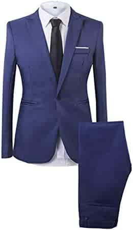 4c9613bb4e34 SEA GIANT Men's Solid 2 Piece Suit Slim One Button Business Wedding Party  Blazer and Pant