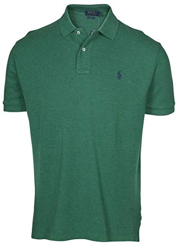 Polo Ralph Lauren Men Slim Fit Mesh Polo Shirt, Green Heather, - Mens Plain Polo Pique