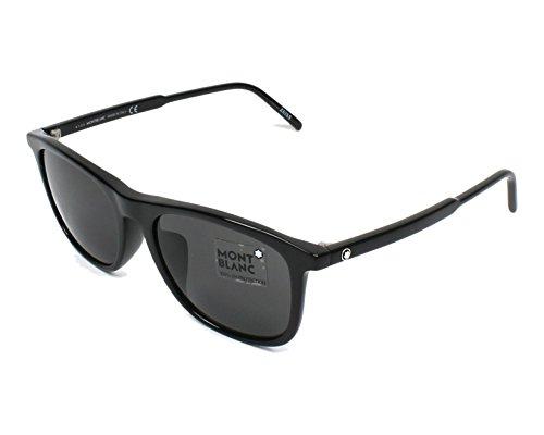 Mont Blanc MB593S Sunglasses Shiny Black w/Polarized Smoke Gray Lens 01D MB ()