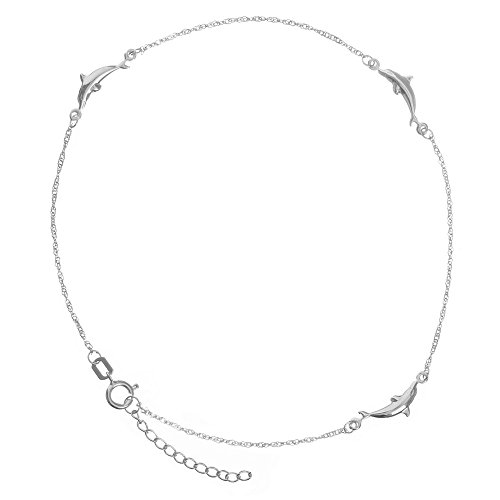 - 14k White Gold Adjustable Dolphin Station Twist Singapore Chain Ankle Bracelet - 10 Inch