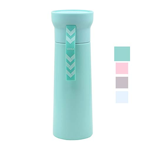 Disen Thermal Bottles Women Men Insulated Travel Mug Water Bottle Stainless Steel Vacuum Flasks Wide Mouth Leak Proof Hot & Cold Beverage Coffee Containers for Office,Sports,Gym,Home Use (Light Green)