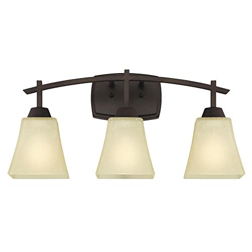 Three-Light Indoor Wall Fixture, Oil Rubbed Bronze Finish with Amber Linen Glass