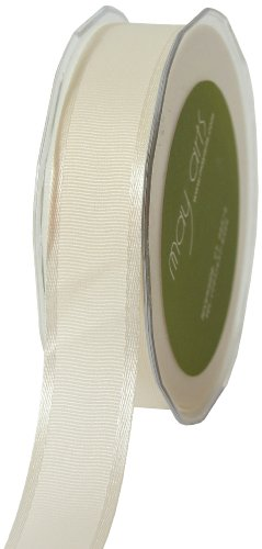 May Arts 1-Inch Wide Ribbon, Ivory Grosgrain with Satin Edge