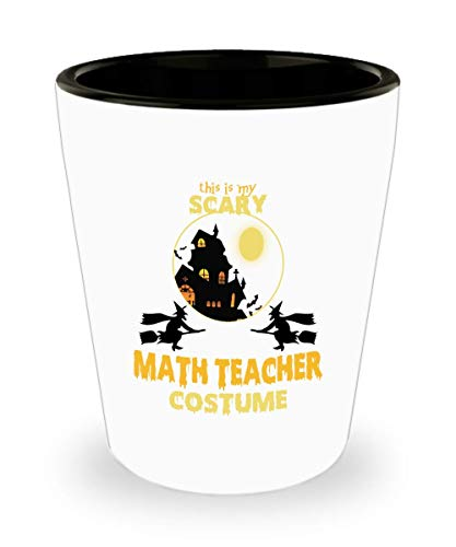 This Is My Scary Math Teacher Costume Shot Glass, Halloween Shot Glass Gifts Saying -