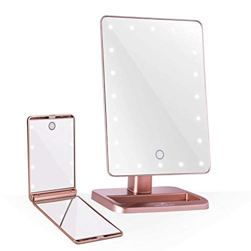 Impressions Vanity Rose Gold Touch XL Touchup Makeup Vanity Mirrors with LED Lights – Compact Lighted Mirror and Tabletop Makeup Mirror