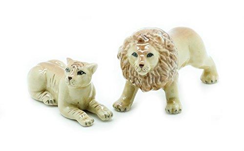 (Grandroomchic Dollhouse Animal Miniature Handmade Porcelain Statue Ceramic Decorative 1/24 Scale 2 Lion Male Female Figurine Collectibles Gift)