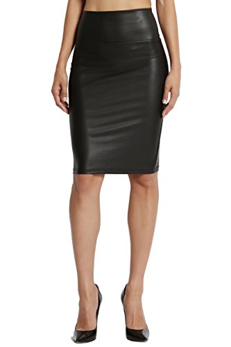 Black Stretch Leather - TheMogan Junior's faux Leather High Waisted Bodycon Pencil Skirt Black L