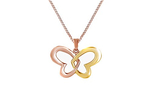 Jewel Zone US Beautiful Double Heart Butterfly Pendant Necklace in 14K Rose Gold Over Sterling Silver