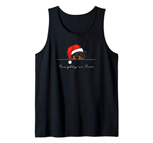 - Funny Dog Santa Peeking Rottweiler Tank Top