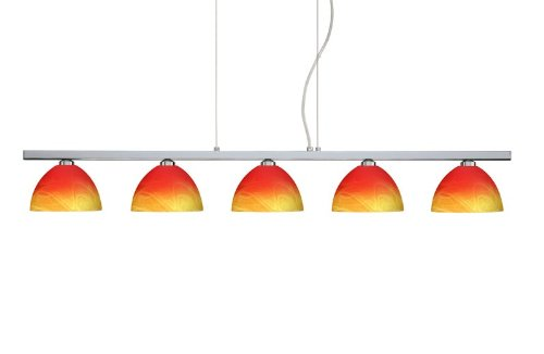 Besa Lighting 5LP-4679SL-PN 5X40W G9 Brella Pendant with Solare Glass, Polished Nickel Finish