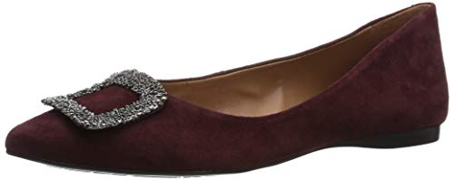 Flats Sole Suede French (French Sole FS/NY Women's Posh Ballet Flat, Burgundy, 8.5 M US)