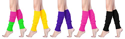 (V28 Women Juniors 80s Eighty's Ribbed Leg Warmers for Party Sports (5 Pack B))
