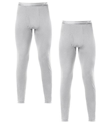 Lapasa Men's 2-Pack Fleece Lined Thermal Underwear Pants (Large, Grey)