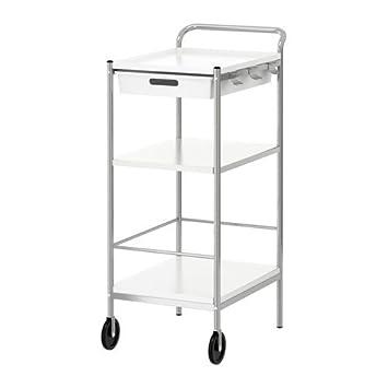 ikea bygel trolley white silver colour 98x59x39 cm amazon co