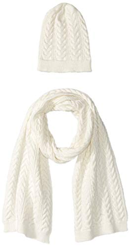 Cable Knit Hat Scarf - Amazon Essentials Women's Cable Knit Hat and Scarf Set, Ivory, One Size
