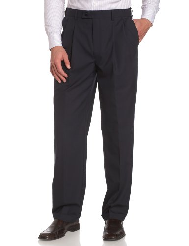 Louis Raphael LUXE Men's 100% Wool Pleated Dress Pant with Hidden Extension Waist Band,Navy,44x30 -