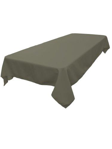 LA Linen Polyester Poplin Rectangular Tablecloth, Dark Gray, 60