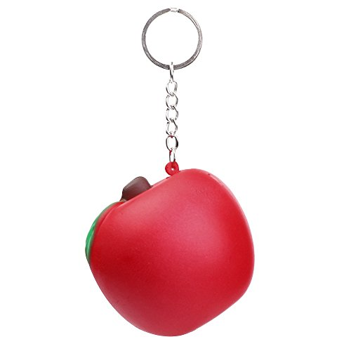 Cyswi Hand Toy for Stress Cute Red Apple Fun Ball Fruit Shape Squeeze Birthday Gift Healing Slow Rising Kids Spoof Toys Soft Squishy Pressure Reliever Colorful Decompression Keychain Present ()