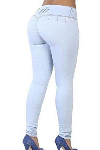 Taille Des yulinge La Blue Pantalons Jeans Cheville Jeans Depuis Haute Les Femmes qEEwU6I