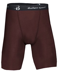 Badger Men's Moisture Management Compression Stretch Short, Large, Maroon
