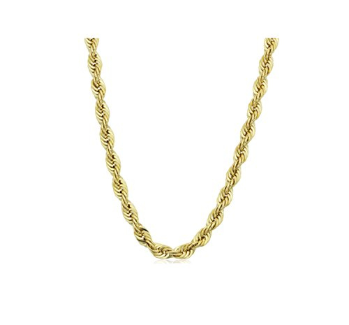 Sterling Silver 3.2mm diamond cut rope chain necklace in 18k gold plating-26