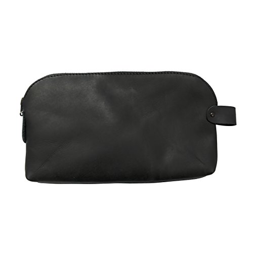 Large All Purpose Dopp Kit Utility Bag (Cords, Chargers, Tools, School/Office Supplies) Handmade by Hide & Drink :: Charcoal Black