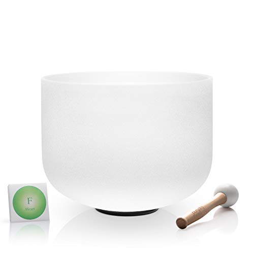 TOPFUND Perfect Pitch Crystal Singing Bowl F Note Heart Chakra 12 inch O-ring and Rubber Mallet included