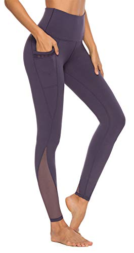 AFITNE Yoga Pants for Women High Waisted Mesh Leggings Tummy Control Athletic Workout Leggings with Pockets Gym Purple - M