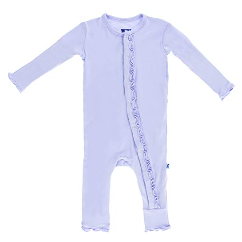 - KicKee Pants Little Girls Basic Muffin Ruffle Coverall (Zipper) - Lilac, 6 - 9 Months