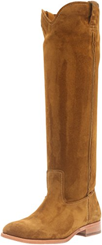 Frye Women's Cara Tall Suede Slouch Boot, Wood, 6 M US Wheat