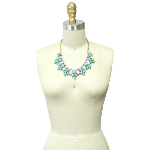 Wrapables Yasmine Petals Statement Necklace Bib Necklace, Turquoise
