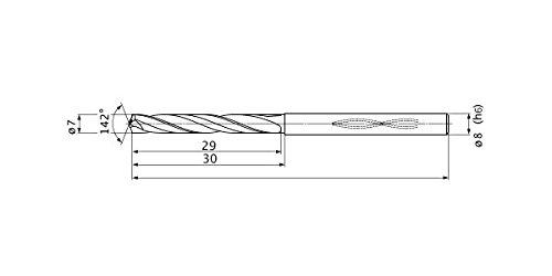 2 Hole Depth Mitsubishi Materials MHS0700L030B MHS Solid Carbide Drill 1.5 mm Point Length Internal Coolant 7 mm Cutting Diameter 8 mm Shank Diameter