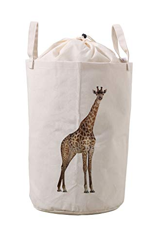 LifeCustomize Large Canvas Laundry Hamper Cute Giraffe Print Clothing Storage Bins Boxes Toy Organizer Nursery Folding Baskets with Handles