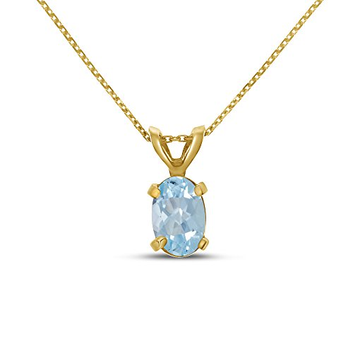 10k Yellow Gold Oval Aquamarine Pendant with 16