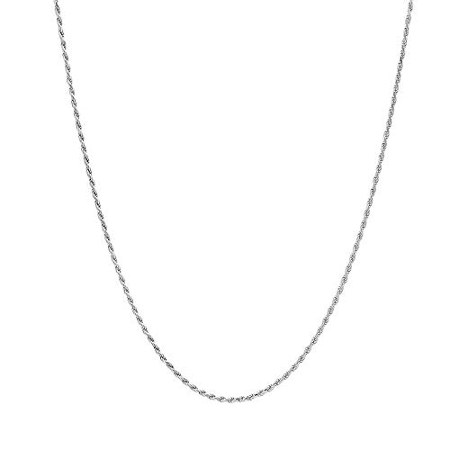 (Verona Jewelers Sterling Silver Diamond-Cut Rope Chain Necklace 2MM, 2.5MM, 3MM- 925 Braided Twist Italian Necklace (19, 2MM))